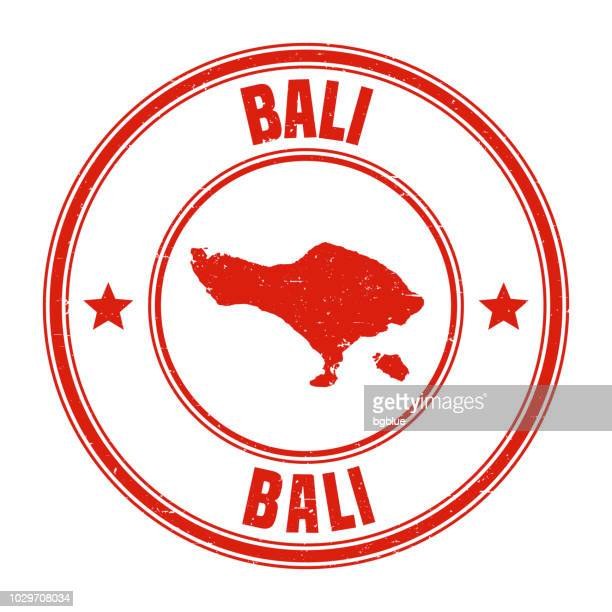 bali - red grunge rubber stamp with name and map - bali stock illustrations