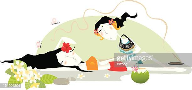 balinese massage - aromatherapy stock illustrations, clip art, cartoons, & icons