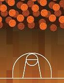 Ball and basketball court. Lot of balls. Basketball background.