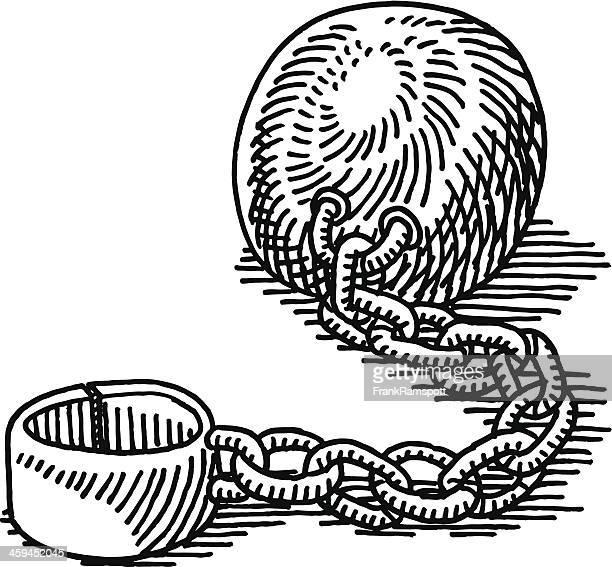 ilustraciones, imágenes clip art, dibujos animados e iconos de stock de bola de hierro y cadena de dibujo - bola de hierro y cadena