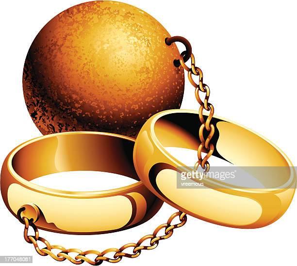 ilustraciones, imágenes clip art, dibujos animados e iconos de stock de bola de hierro y cadena - bola de hierro y cadena