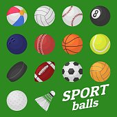Ball game set. Sport and games kids ball for volleyball baseball tennis football soccer bambinton hockey balls vector collection