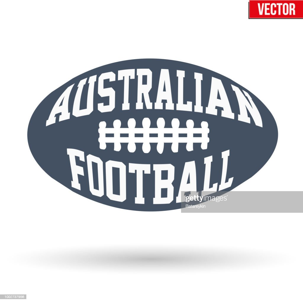 Ball of Australian rules football with typography