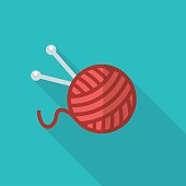 A ball of wool and knitting needles