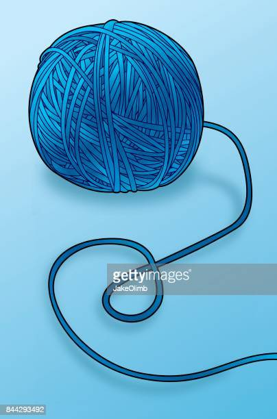 ball of yarn line art color - string stock illustrations