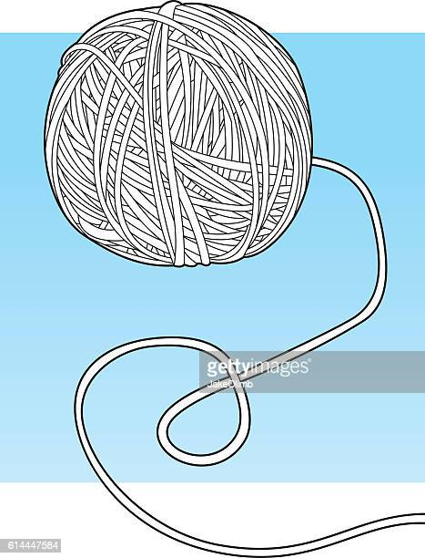 ball of yarn line art - string stock illustrations