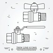 Ball valve icons thin line for web and mobile