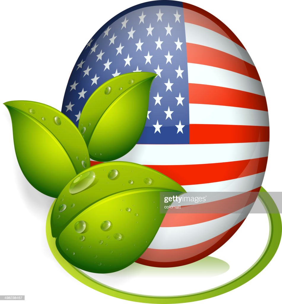 Ball with flag of the United States and with leaves