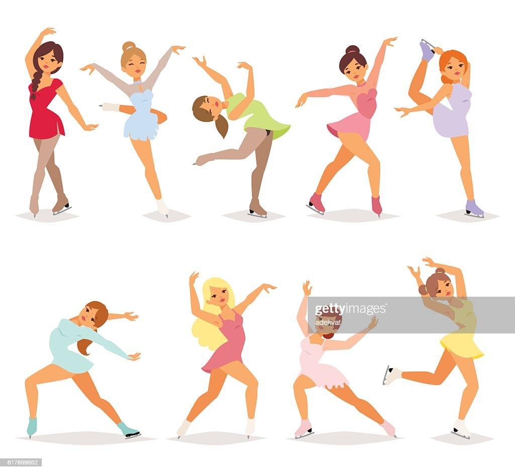 Ballerina dancer girl vector set.