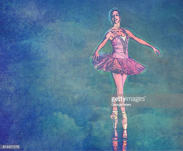 ballerina dancing with textured clouds background - classical theater stock illustrations, clip art, cartoons, & icons