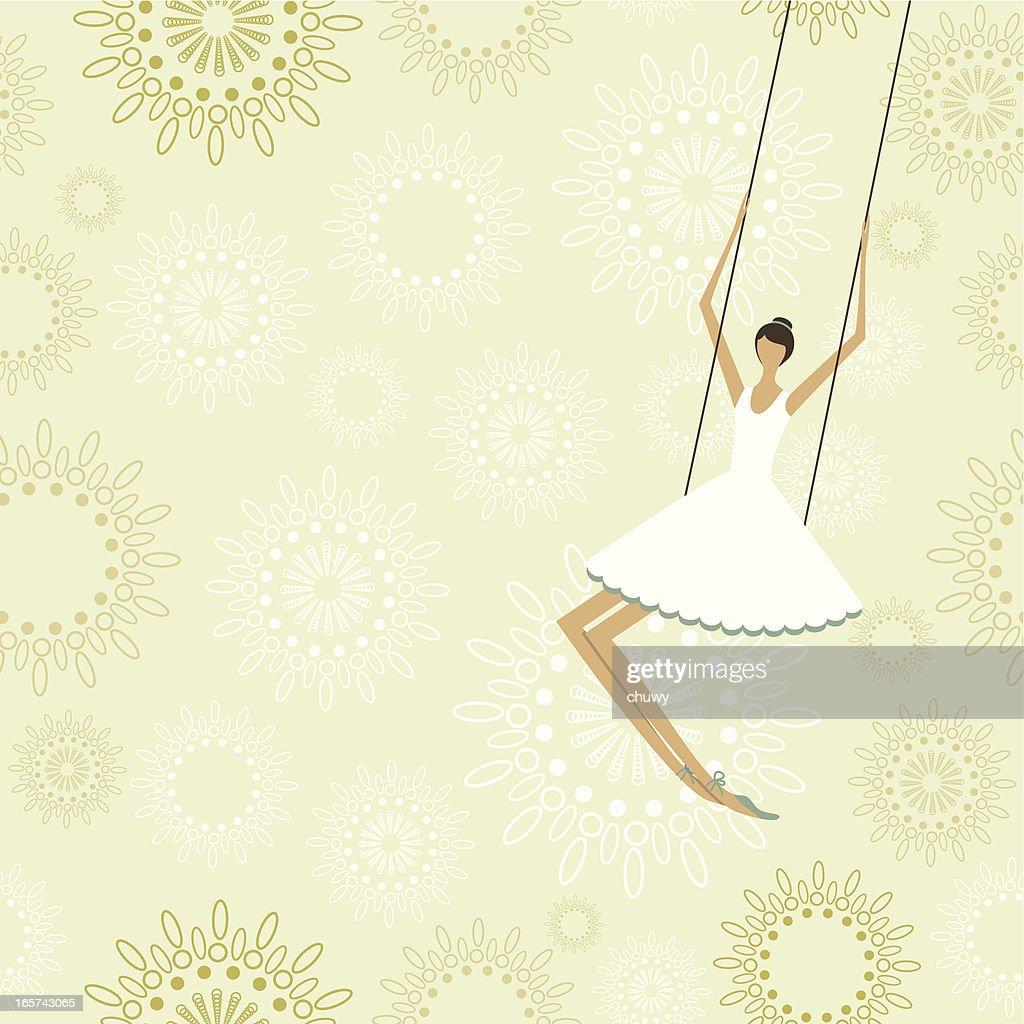 Ballerina en un circo de trapecio : arte vectorial