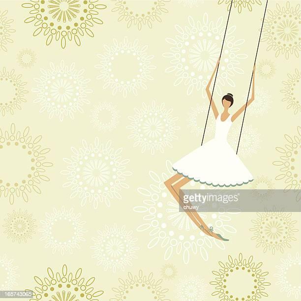 Ballerina en un circo de trapecio