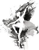 Ballerina in dance. watercolor