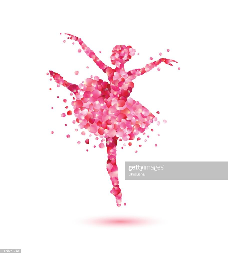 Ballerina of pink rose petals