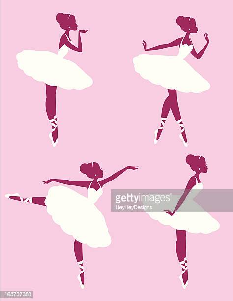 ballerina silhouettes - updo stock illustrations, clip art, cartoons, & icons