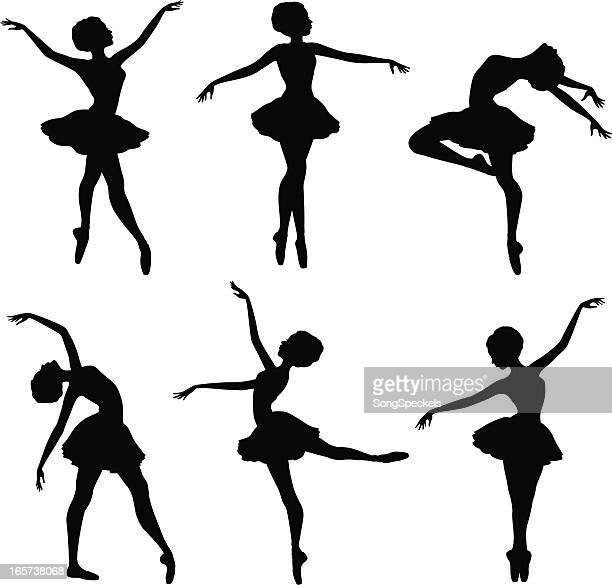 ilustraciones, imágenes clip art, dibujos animados e iconos de stock de ballerina siluetas - zapatilla de ballet