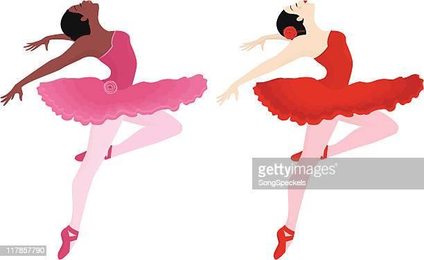 ilustraciones, imágenes clip art, dibujos animados e iconos de stock de ballerinas en tutus - zapatilla de ballet