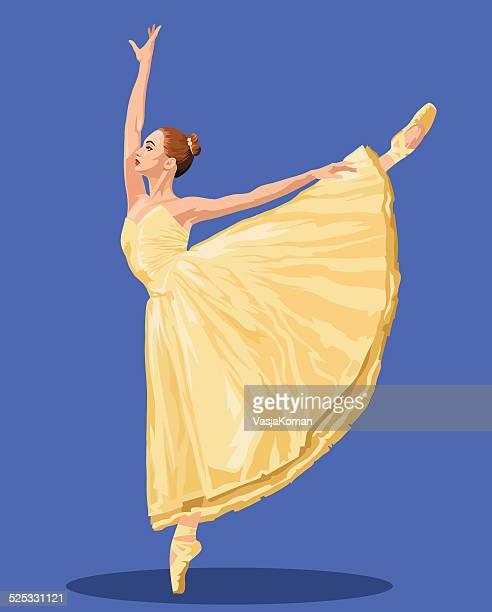 ilustraciones, imágenes clip art, dibujos animados e iconos de stock de bailarín de ballet sobre fondo azul real - zapatilla de ballet