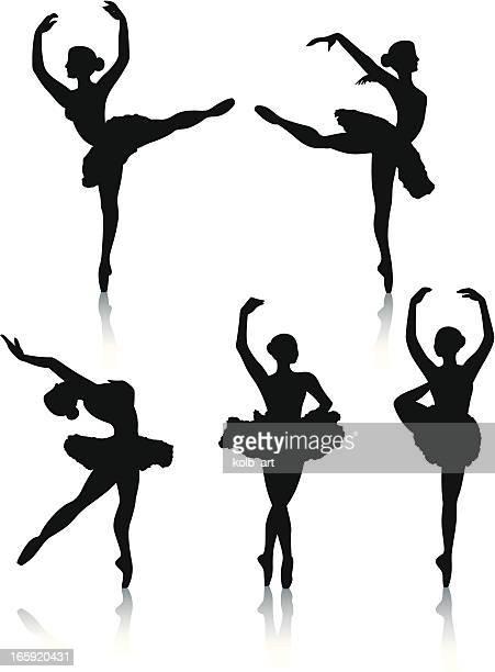 ilustrações, clipart, desenhos animados e ícones de dançarina de balé silhuetas - bailarina