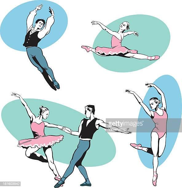 ilustraciones, imágenes clip art, dibujos animados e iconos de stock de realizar dos bailarines de ballet - varón