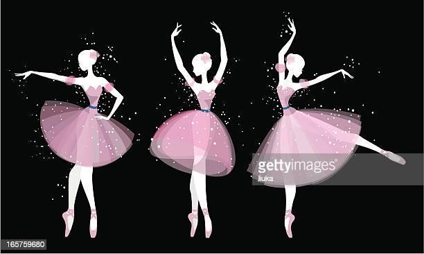 ilustraciones, imágenes clip art, dibujos animados e iconos de stock de bailarines de ballet de silhouette - zapatilla de ballet