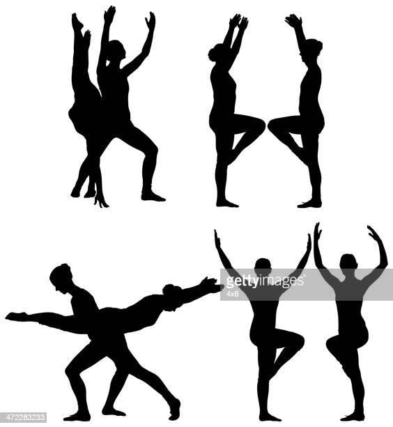 ilustraciones, imágenes clip art, dibujos animados e iconos de stock de bailarines de ballet precalentamiento - baile moderno