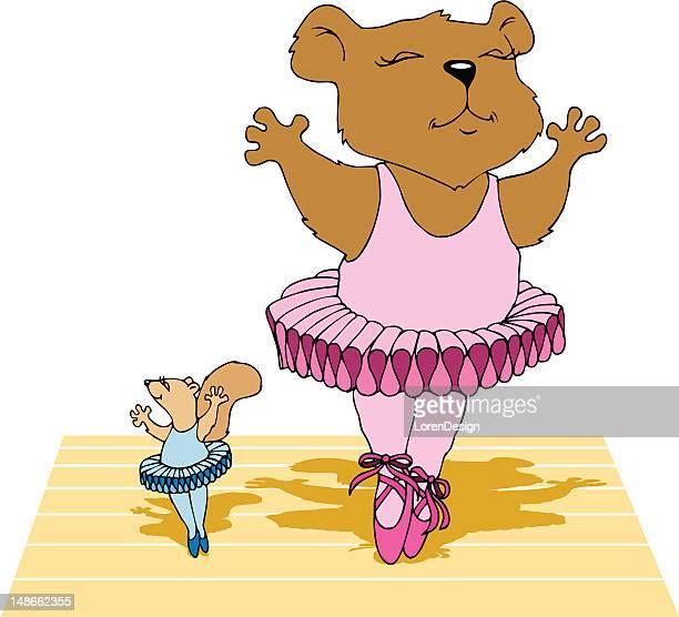 ilustraciones, imágenes clip art, dibujos animados e iconos de stock de ballet danza de los animales - zapatilla de ballet