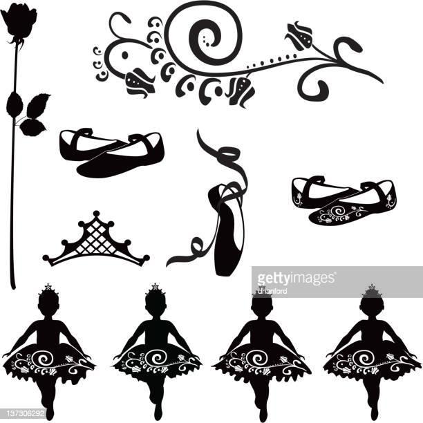 ilustraciones, imágenes clip art, dibujos animados e iconos de stock de ballet elementos para niños en tutus - zapatilla de ballet