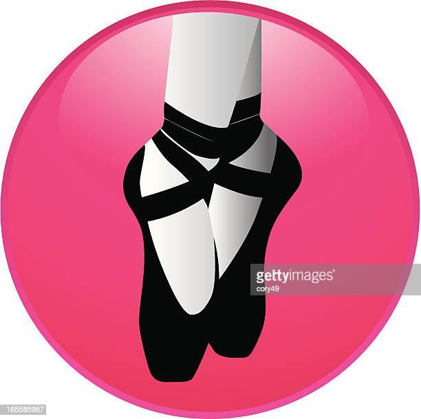 ilustraciones, imágenes clip art, dibujos animados e iconos de stock de icono de ballet - zapatilla de ballet