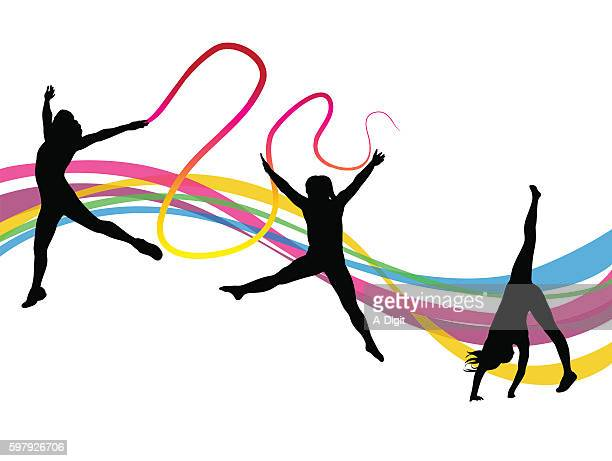 ballet rhythm - ribbon routine rhythmic gymnastics stock illustrations