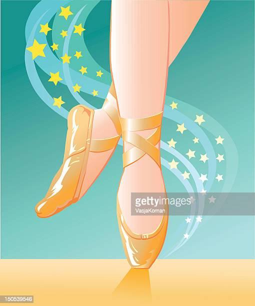 ilustraciones, imágenes clip art, dibujos animados e iconos de stock de ballet pantuflas con estrellas - zapatilla de ballet
