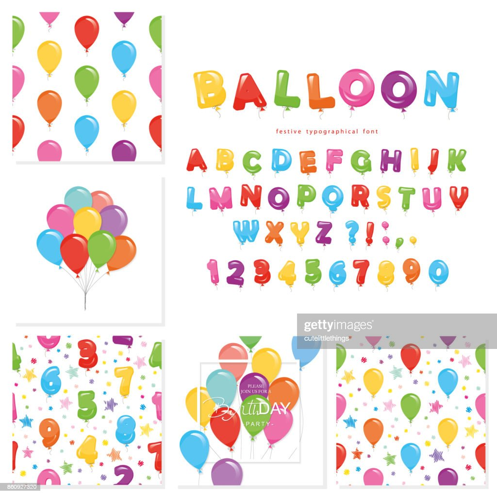 Balloon big set. For birthday and holidays design.
