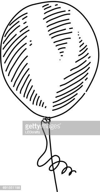 illustrazioni stock, clip art, cartoni animati e icone di tendenza di balloon drawing - pen and ink