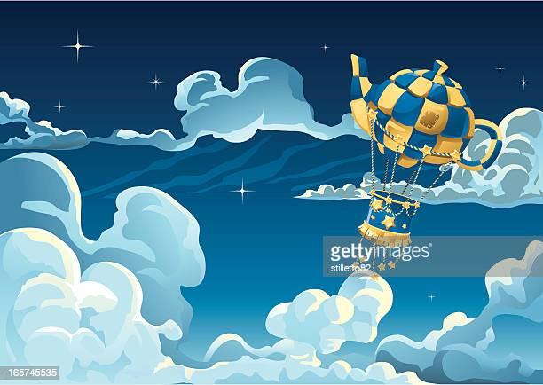 ilustraciones, imágenes clip art, dibujos animados e iconos de stock de avión en el cielo de globo aerostático - libros volando