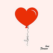 Balloon heart shaped with text: love forever. Greeting card