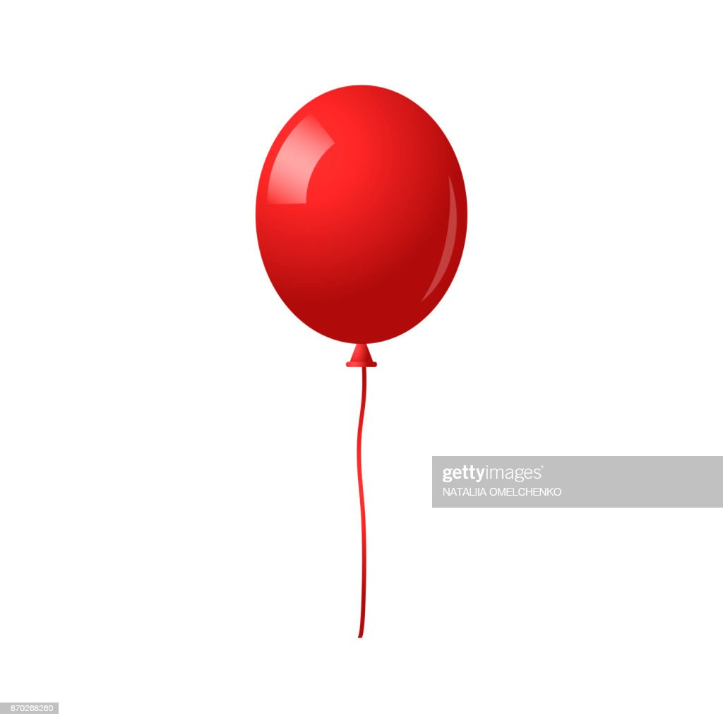 Balloon isolated on white background. Red balloon with long ribbon. Decoration for holidays and birthday party