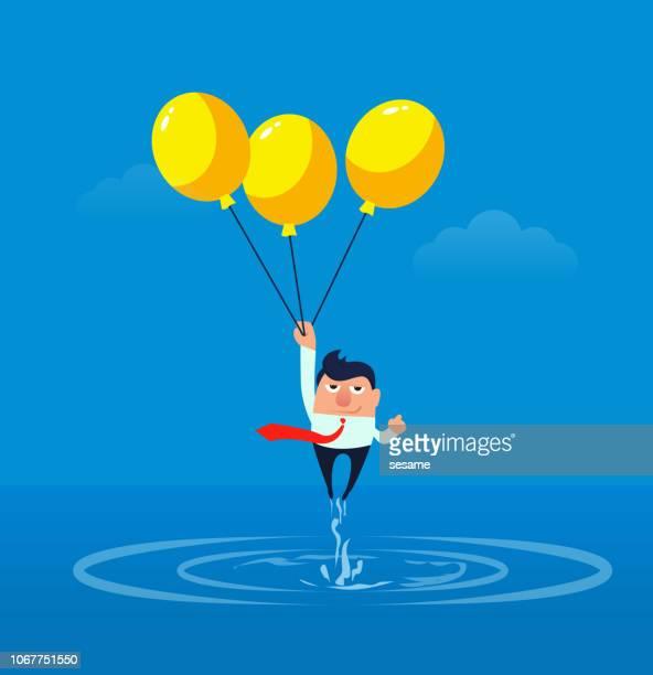 ilustrações, clipart, desenhos animados e ícones de balão com empresário fugindo da água - segurando