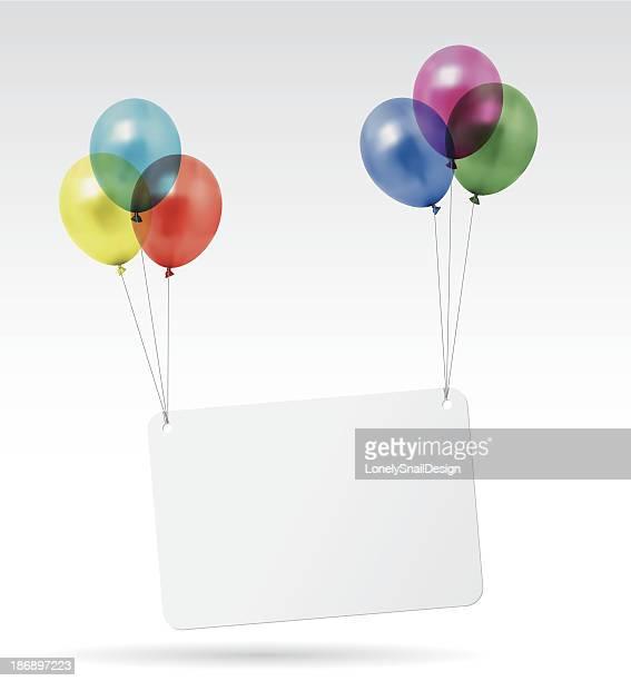 luftballons-karte - geburtstagskarte stock-grafiken, -clipart, -cartoons und -symbole