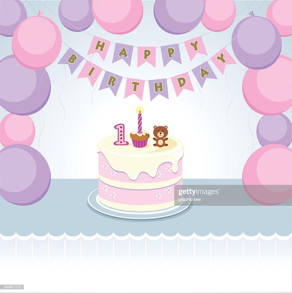 Balloons for little girl first birthday