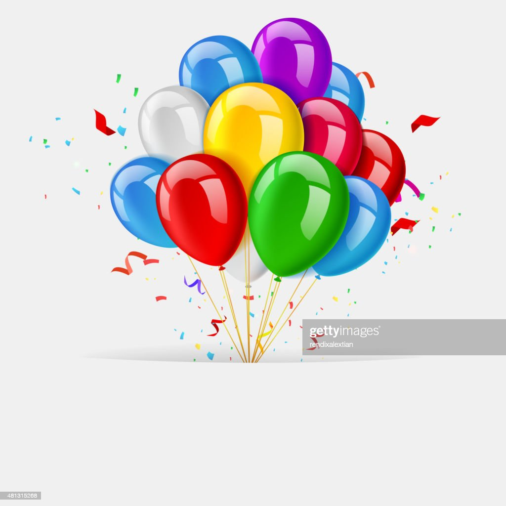 Balloons greeting card, happy birthday banner