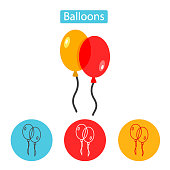 Balloons isolated icon on white background.