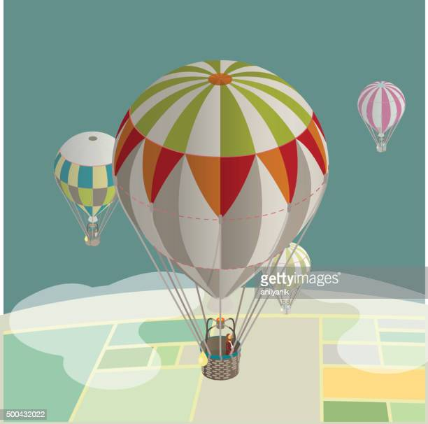 balloons over fields - hot air balloon stock illustrations, clip art, cartoons, & icons