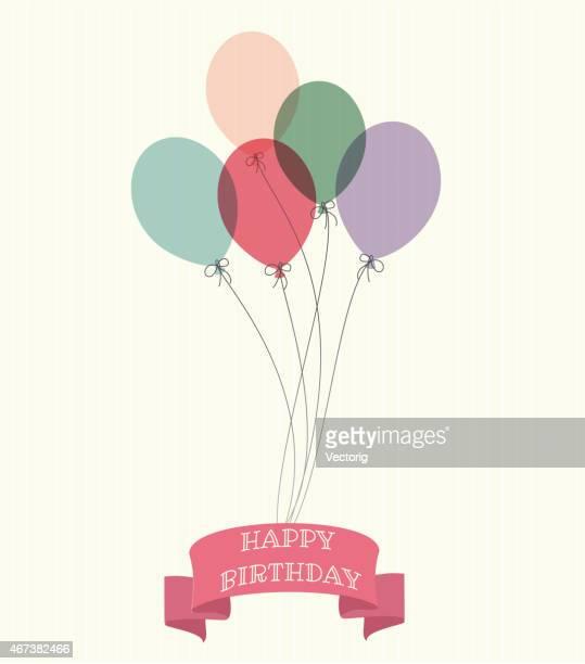 illustrations, cliparts, dessins animés et icônes de ballons avec happy naissance ruban sur un fond samles - ballon de baudruche