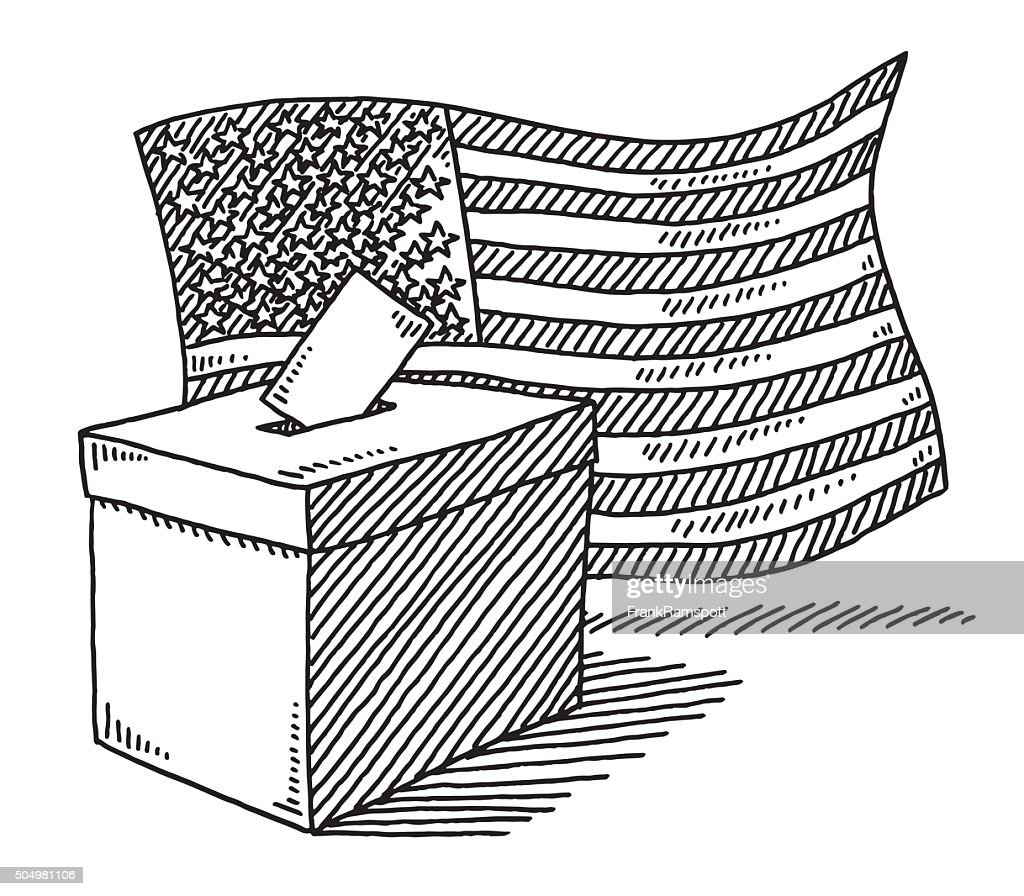 Ballot Box American Flag Drawing