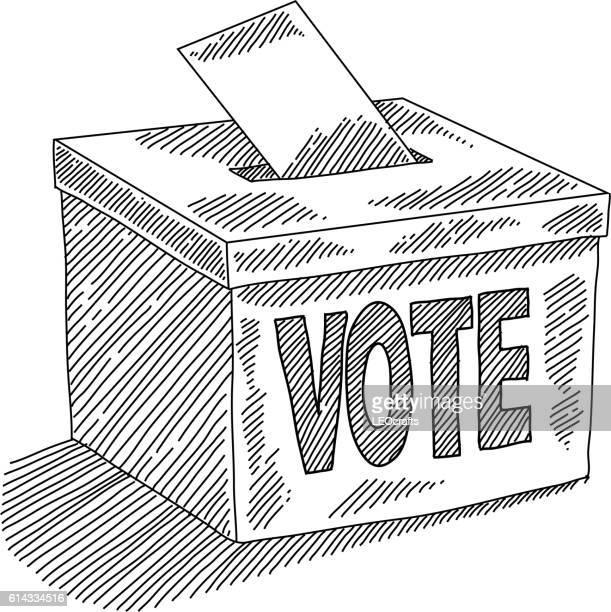 ilustraciones, imágenes clip art, dibujos animados e iconos de stock de ballot box drawing - urna de voto