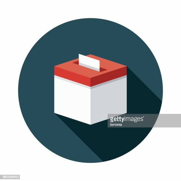 ballot box flat design elections icon with side shadow - ballot box stock illustrations