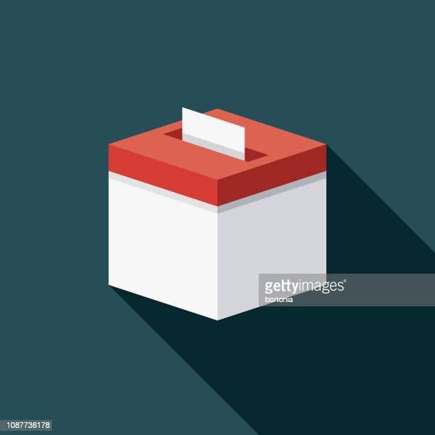 ballot box flat design prom icon - voting stock illustrations