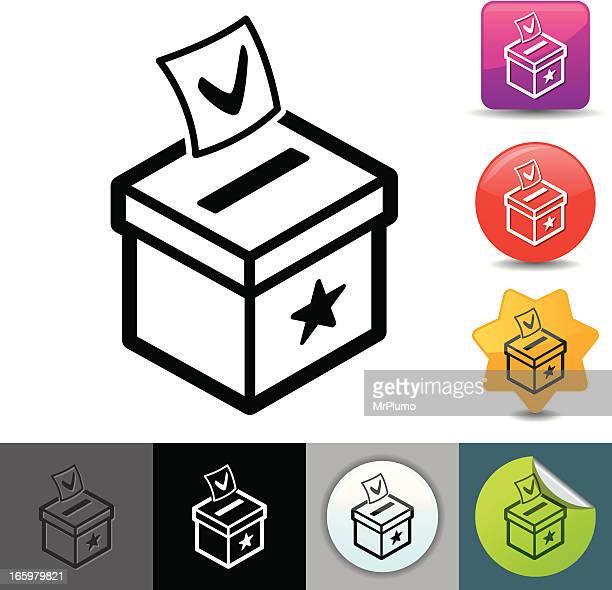 ilustraciones, imágenes clip art, dibujos animados e iconos de stock de urna solicosi iconos/serie - urna de voto