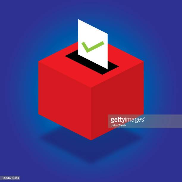 ballot box isometric - presidential candidate stock illustrations