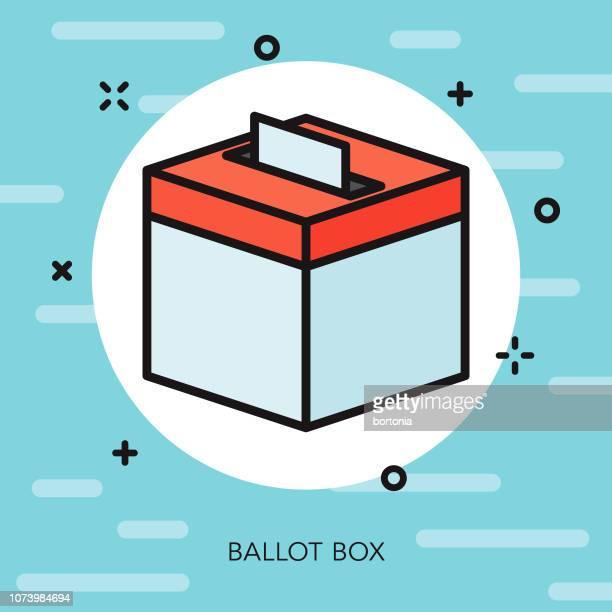 ilustraciones, imágenes clip art, dibujos animados e iconos de stock de delgada línea de urnas elecciones icono - urna de voto